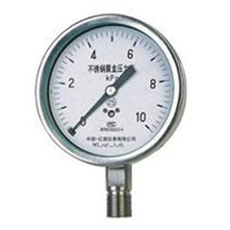 不锈钢膜盒压力表YE-100B、150B上海自动化仪表四厂