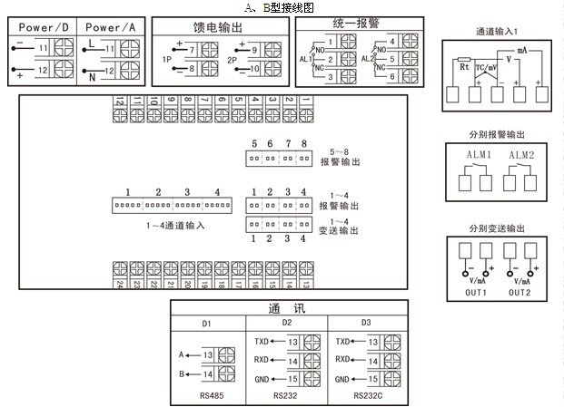 福建虹润温控仪 nhr-5740系列四回路测量显示控制仪 接线图