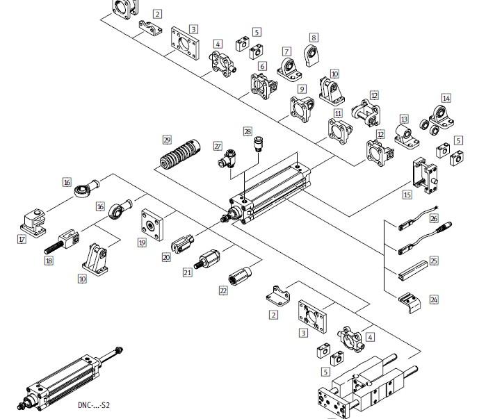 festo带电磁阀气缸dnc系列图片