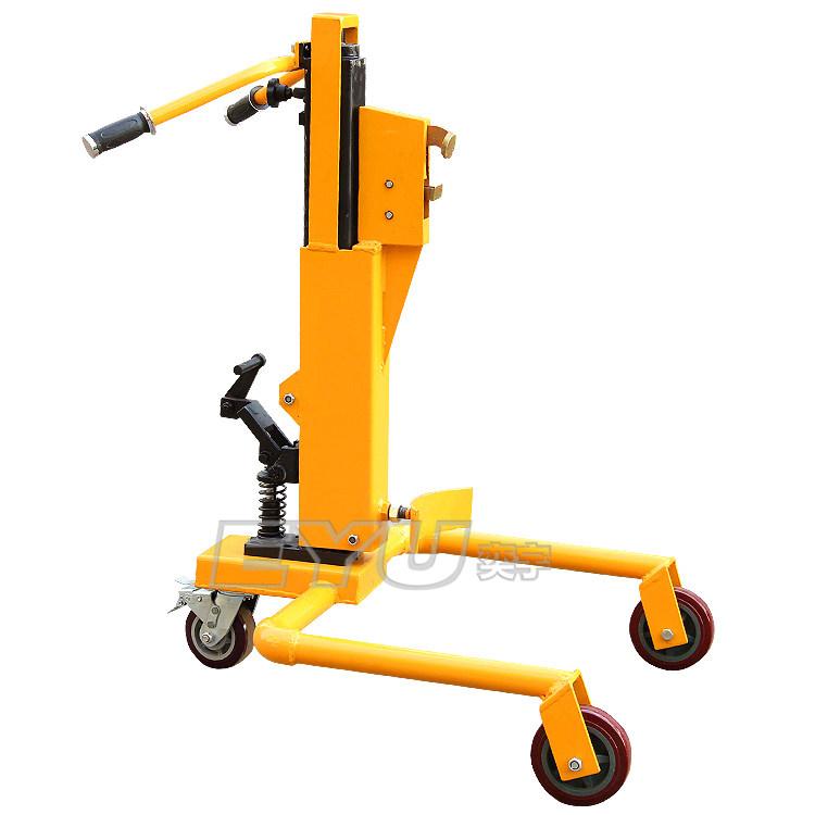 产品卖点:ey-dt350a手动液压油桶搬运车设计结构简单