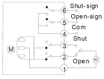 衬氟电动蝶阀的接线展示图
